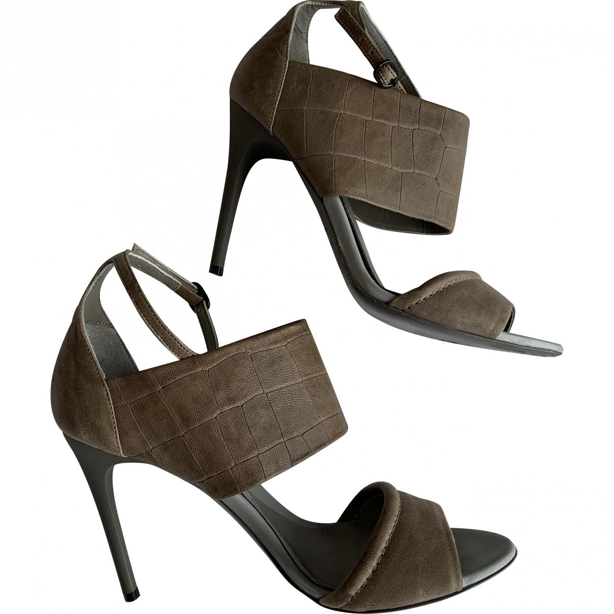 Alexander Mcqueen \N Grey Leather Heels for Women 39 EU