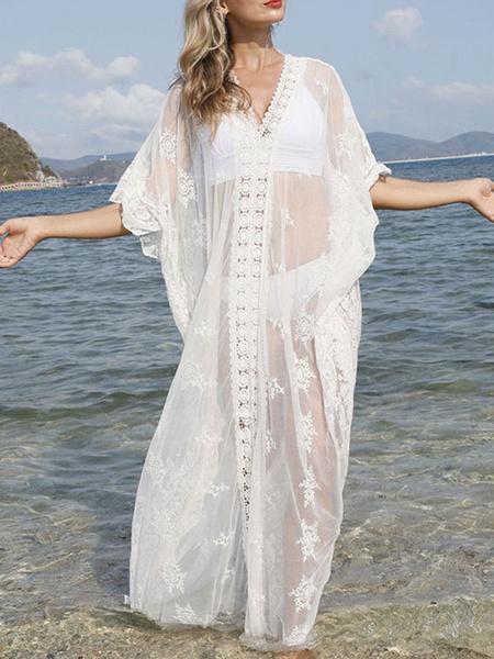 Milanoo Cover Up para mujer Blanco con estampado floral de encaje con cuello en V medias mangas de encaje de verano trajes de baño de playa