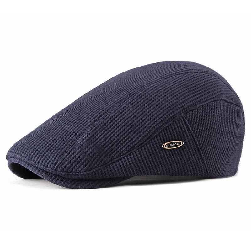 Men Cotton Velvet Beret Cap Winter Warm Adjustable Knit Hat Travel Golf Hunting Driving Hat