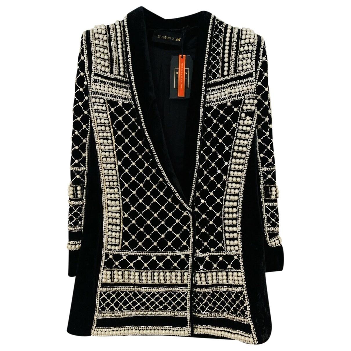 Balmain For H&m - Manteau   pour femme en velours - noir