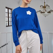 Pullover mit sehr tief angesetzter Schulterpartie und Blumen Muster