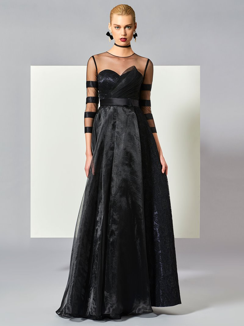 Ericdress A Line 3/4 Sleeve Organza Evening Dress With Zipper-Up