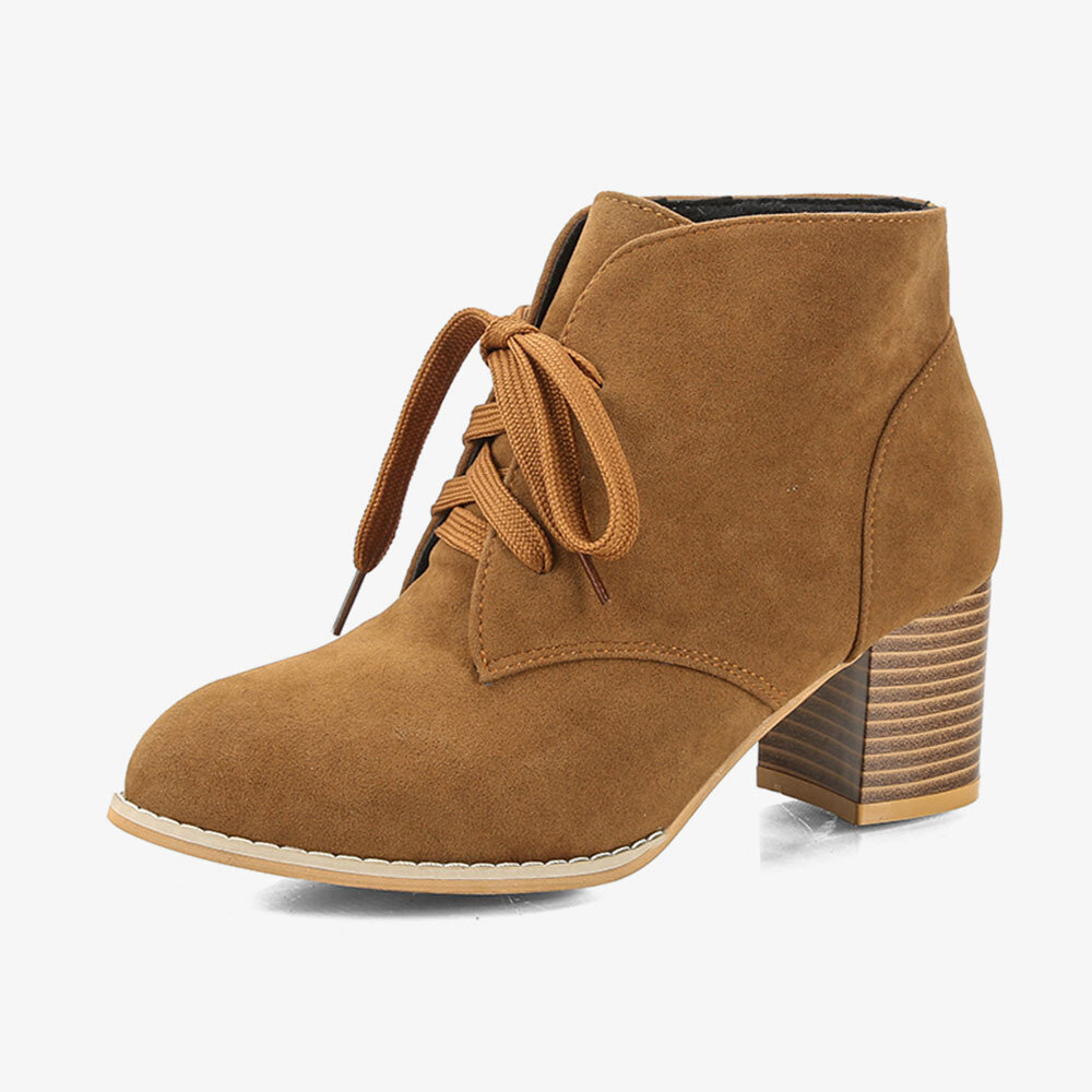 Suede High Heel Lace Up Block Casual Lady Ankle Boots