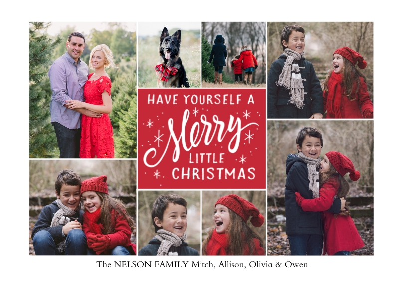 Christmas Photo Cards 5x7 Cards, Premium Cardstock 120lb with Rounded Corners, Card & Stationery -Merry Little