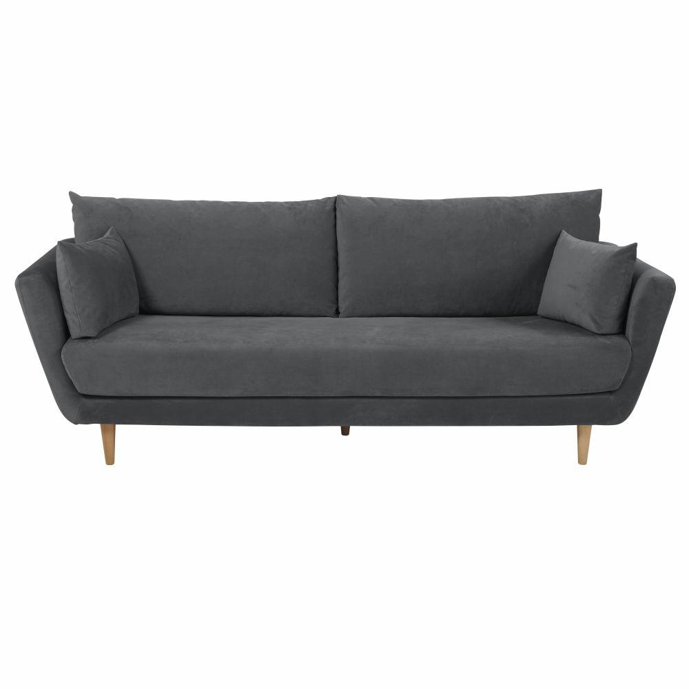 3-Sitzer-Sofa mit anthrazitgrauem Samtbezug Prague