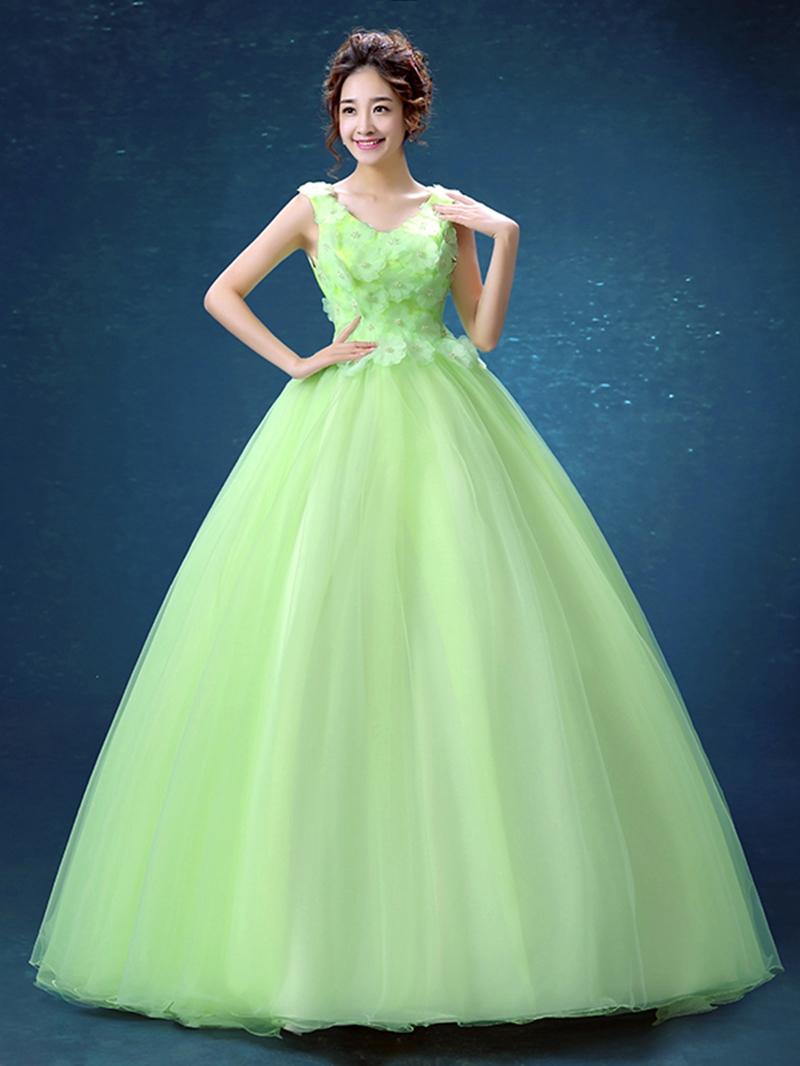 Ericdress V-Neck Ball Gown Pearls Flowers Floor-Length Quinceanera Dress