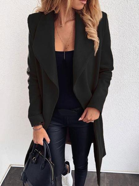Milanoo Las mujeres capa del invierno de cobertura de cuello de manga larga de abrigo