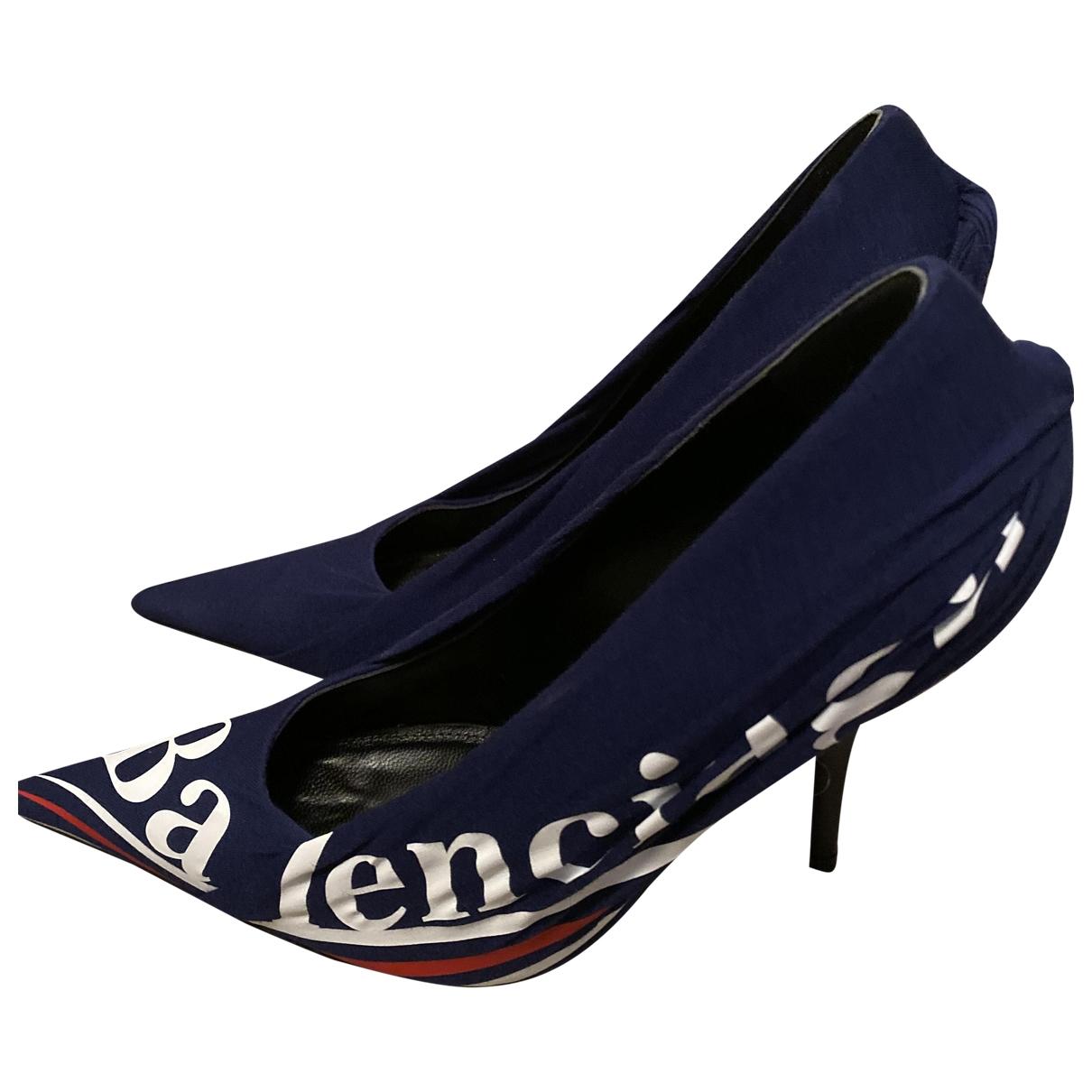 Balenciaga Knife Blue Cloth Heels for Women 37 EU