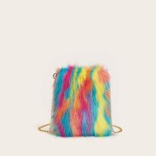 Tasche mit Kunstpelz Dekor, Farbblock und Kette