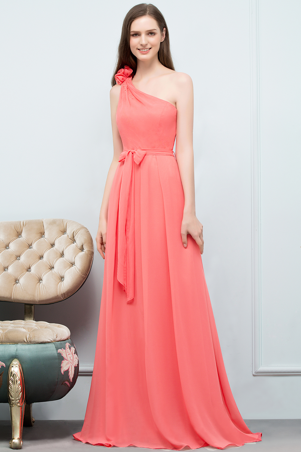 BMbridal Chic One Shoulder Flower Long Bridesmaid Dresses with Bow Sash