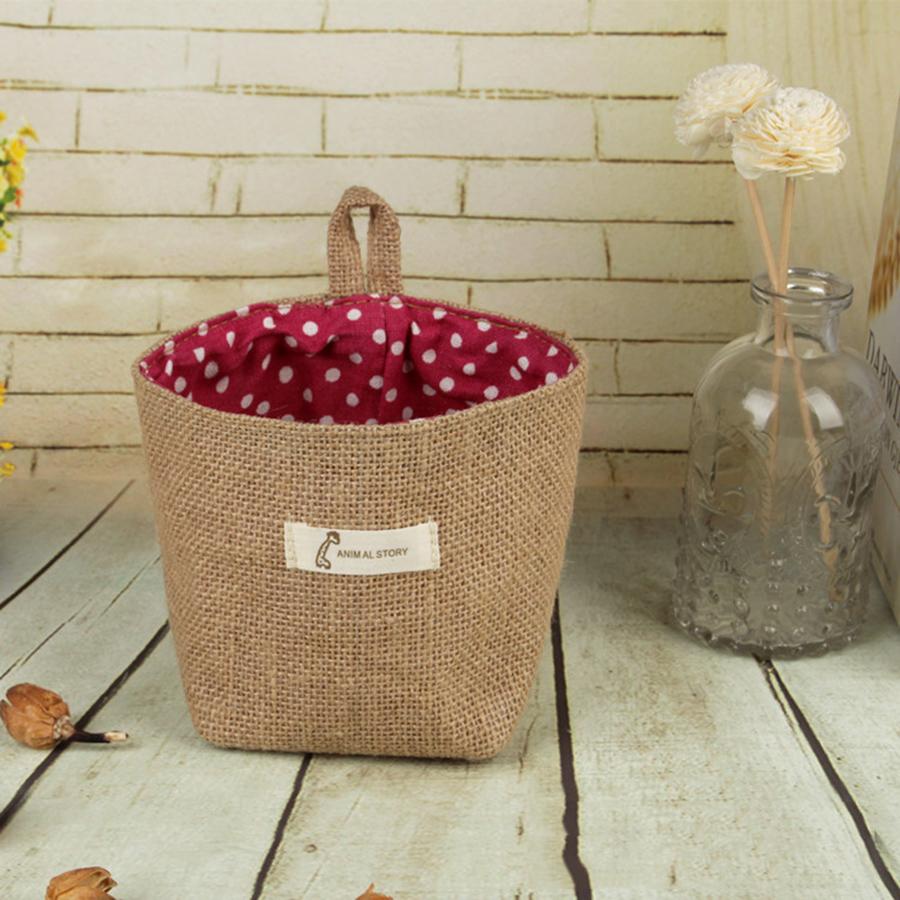 Linen Flower Pot Suspension Type Cylinder Type Storage Bag