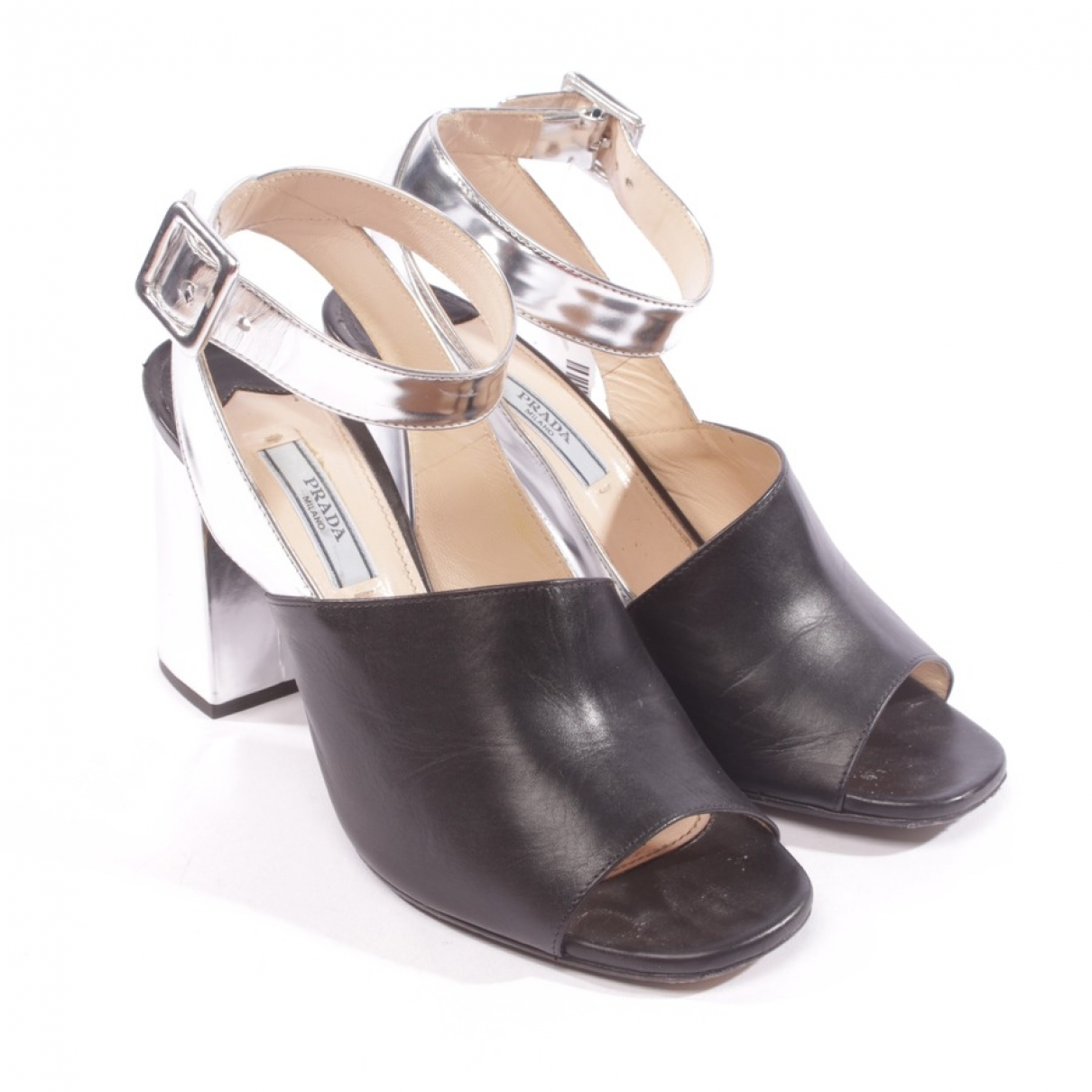 Prada \N Black Leather Sandals for Women 37.5 EU