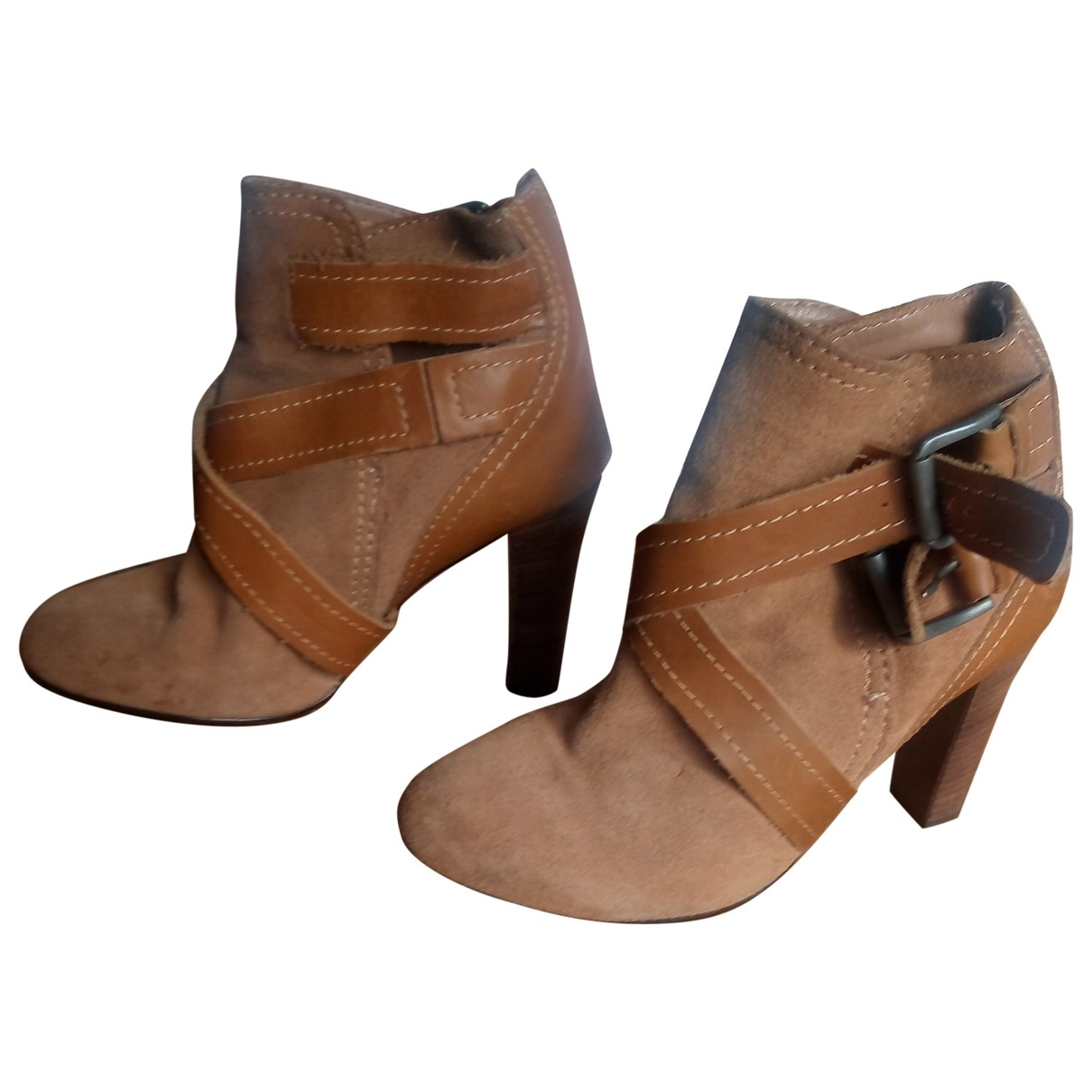 Zara \N Camel Leather Ankle boots for Women 37 EU