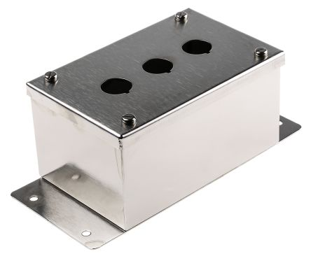 Eaton Grey Stainless Steel M22 Push Button Enclosure - 3 Hole 22mm Diameter