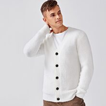 Men Solid Button Up Fuzzy Cardigan