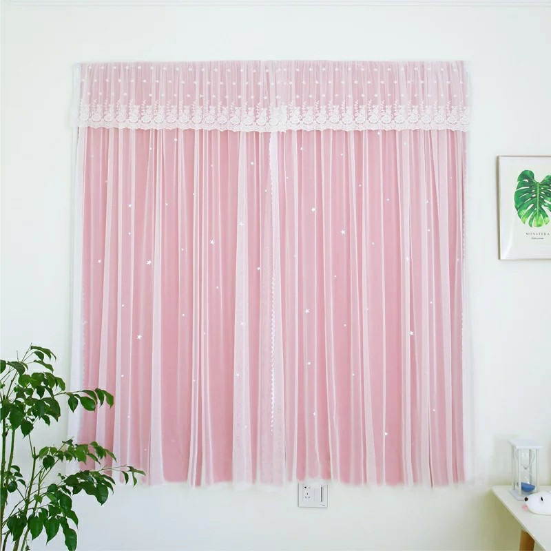 Princess Style Star Hollowed-out Custom Blackout Curtain Sets for Living Room Bedroom Cloth and Sheer Sewing Together 2 Panels Drapes