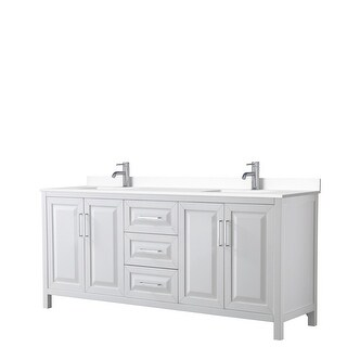 Daria 80 Inch Double Vanity, Cultured Marble Top (White, White Cultured Marble)