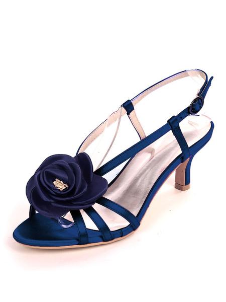 Milanoo Ivory Wedding Shoes Satin Open Toe Flowers Kitten Heel 2.4 Bridal Shoes