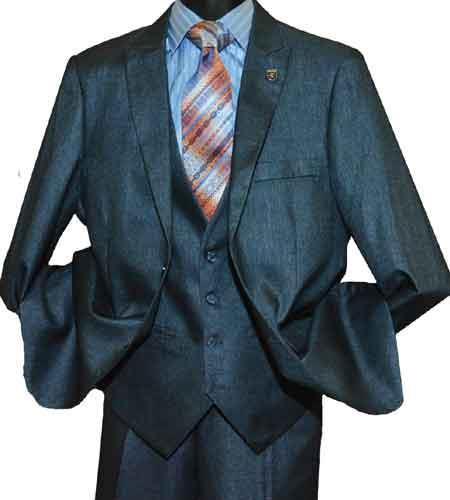 Men's Stacy Adams Brand Sharkskin Peak Lapel Single Breasted  Suit