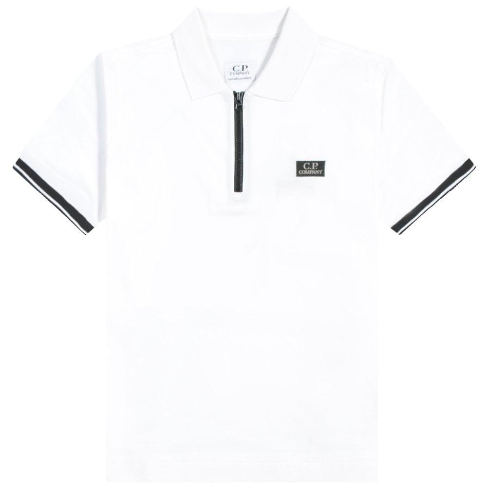 C.p. Company C.P Company Kids Zip-top Polo Colour: WHITE, Size: 10 YEARS