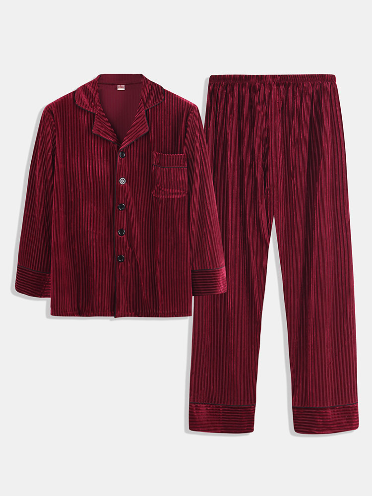 Men Gold Velvet Striped Pajamas Set Soft Breathable Buttons Down Plain Loungewear