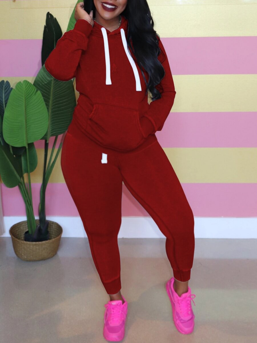 LW Lovely Casual Hooded Collar Kangaroo Pocket Wine Red Plus Size Two-piece Pants Set