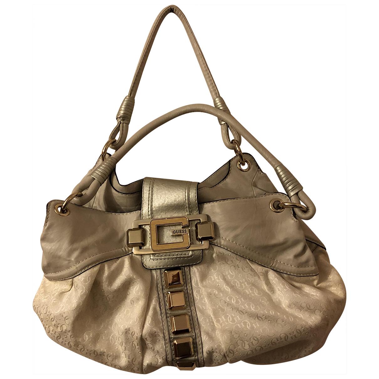 Guess \N Handtasche in  Weiss Leder
