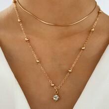 Rhinestone Pendant Layered Necklace