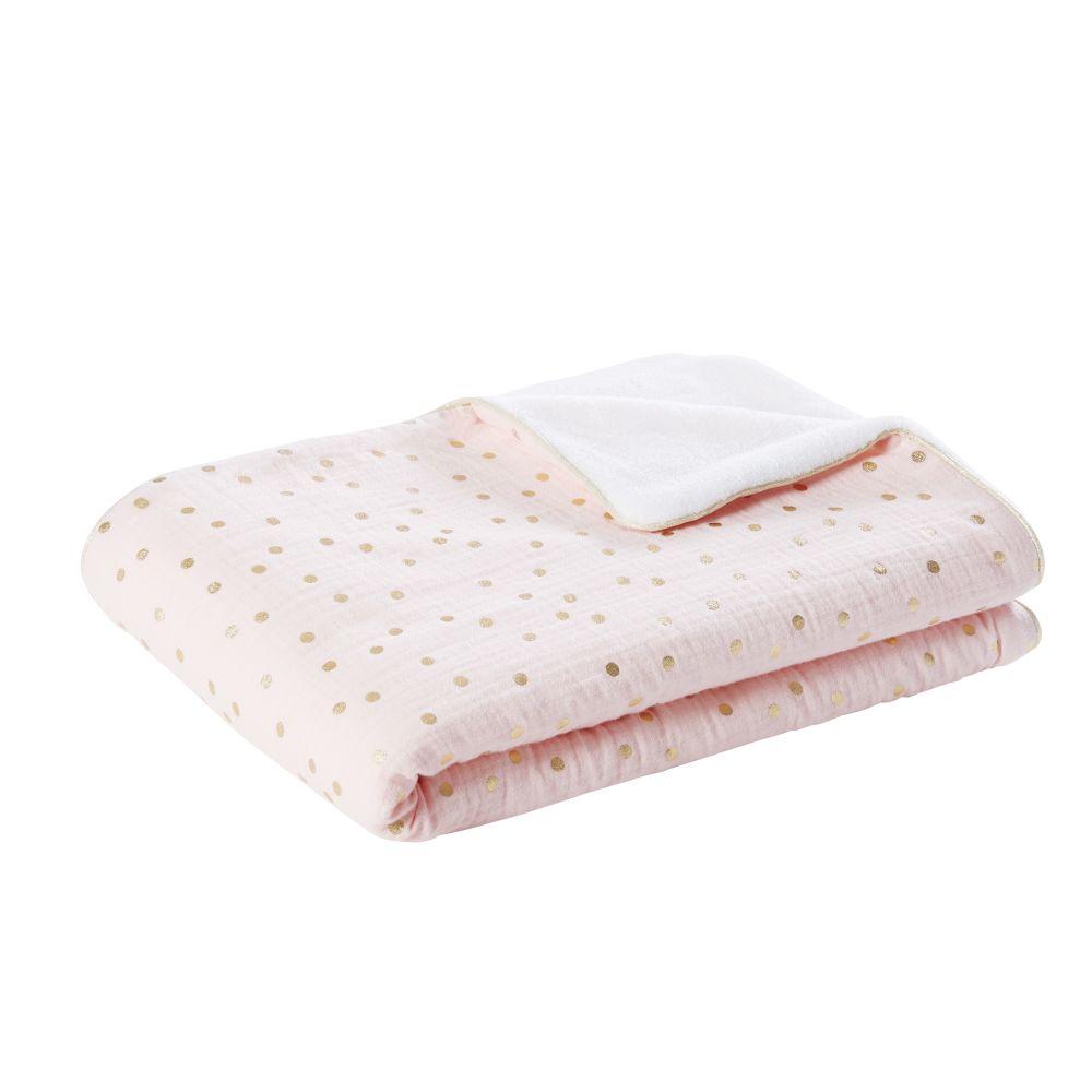 Babydecke aus Baumwolle, rosa und weiss mit goldenen Puenktchen 75x100