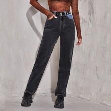 Zweifarbige Jeans mit geradem Beinschnitt ohne Guertel