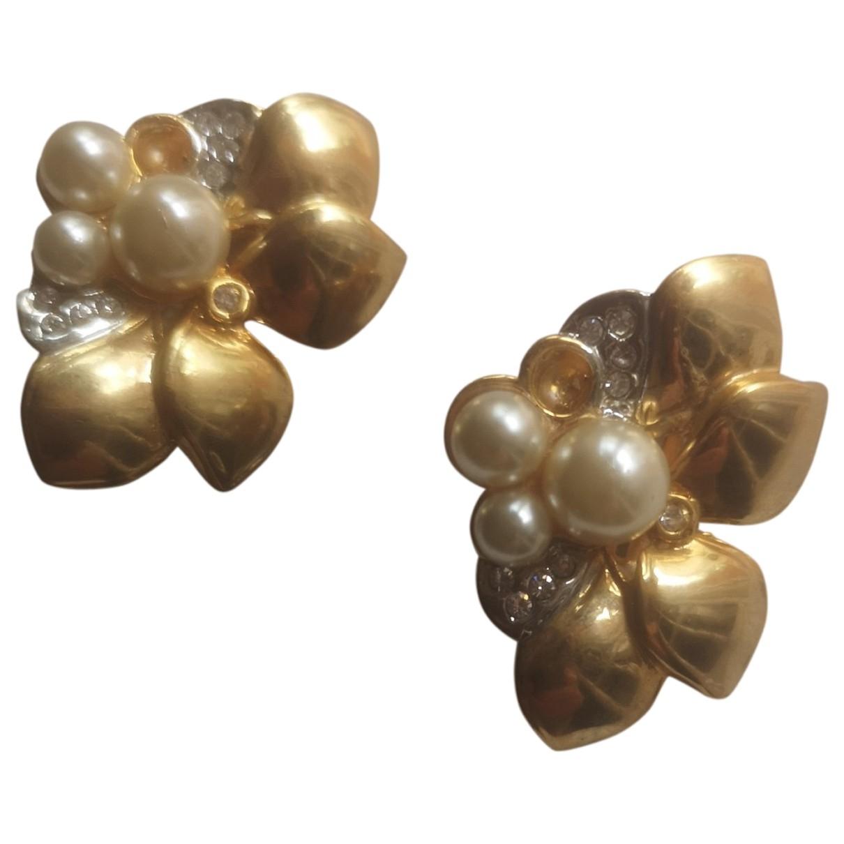 Non Signe / Unsigned Nacre OhrRing in  Gold Vergoldet