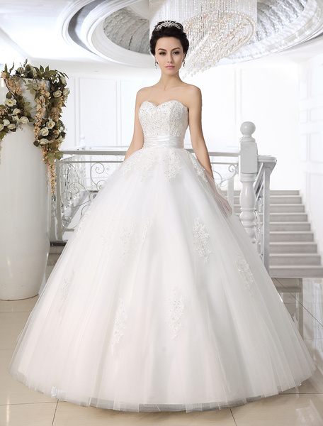 Milanoo White Ball Gown Strapless Sweetheart Neck Lace Floor-Length Wedding Dress For Bride