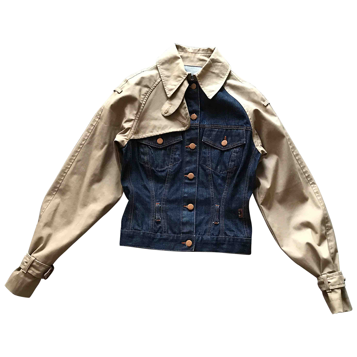 Jean Paul Gaultier N Navy Cotton Leather jacket for Women 38 FR
