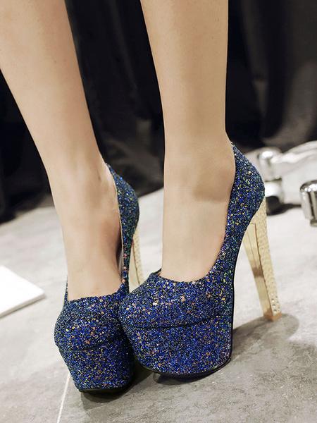 Milanoo Mujeres sexy tacones altos azul punta redonda zapatos sexy