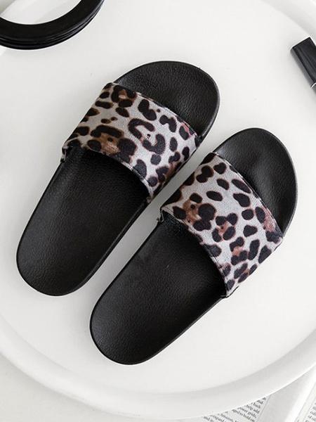 Milanoo Sandal Slippers Grey Round Toe Slip-On Sandal Slides Leopard Beach Women\'s Shoes
