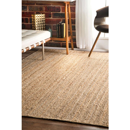 nuLoom Hand Woven Rigo Jute Rug, One Size , White