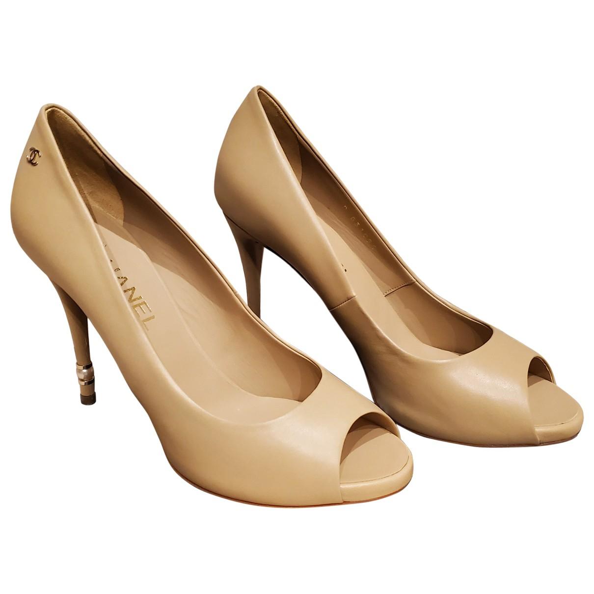 Chanel - Escarpins   pour femme en cuir - beige