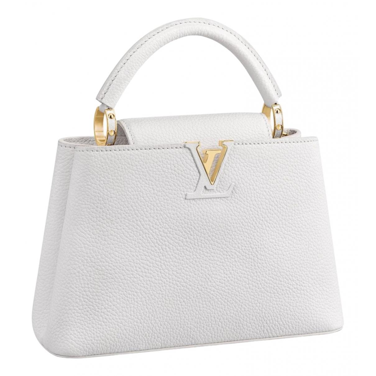 Louis Vuitton - Sac a main Capucines pour femme en cuir - blanc