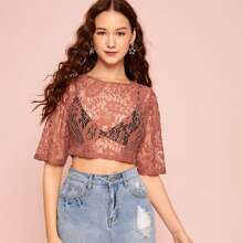 Zip Back Guipure Lace Crop Top Without Bra