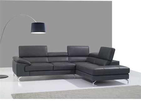 A973 Collection 1790613-RHFC Italian Leather Right Facing Sectional Sofa with 5 Independent Ratchet Headrest in