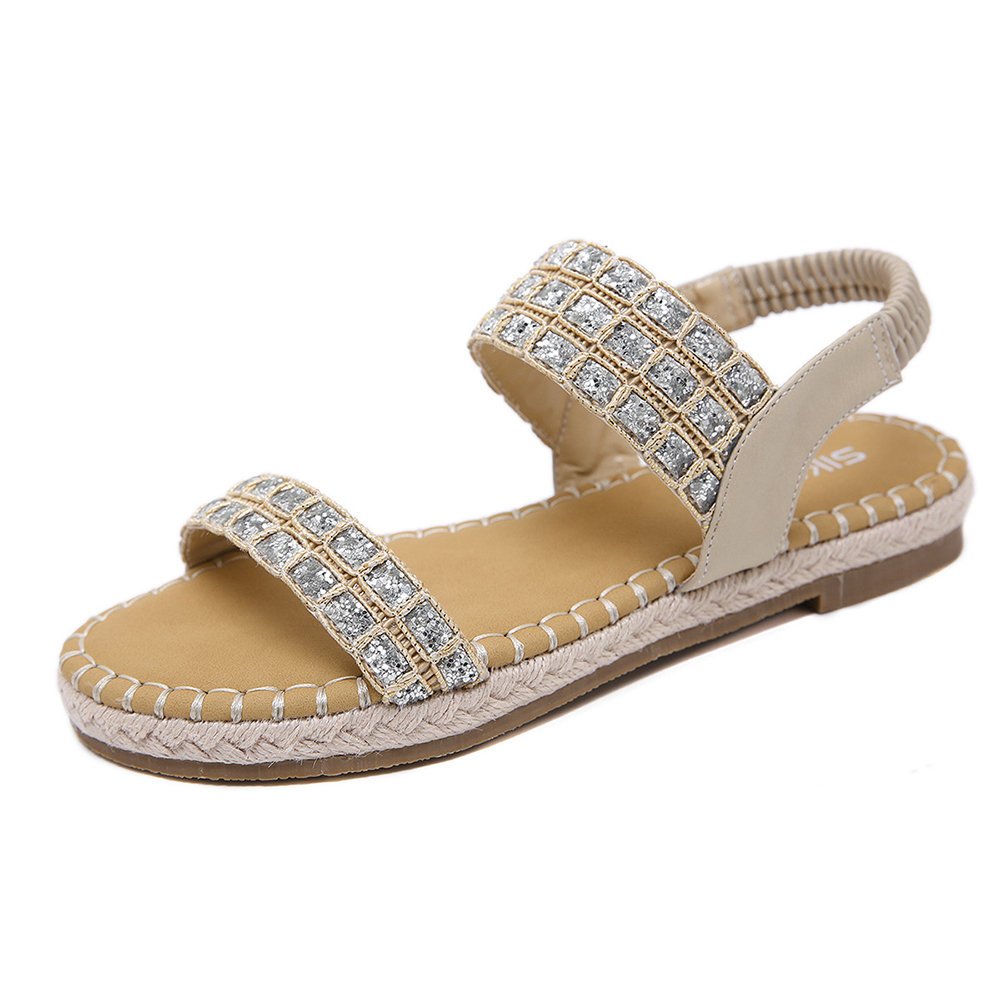 Women Casual Comfy Rhinestone Straw Elastic Band Sandals