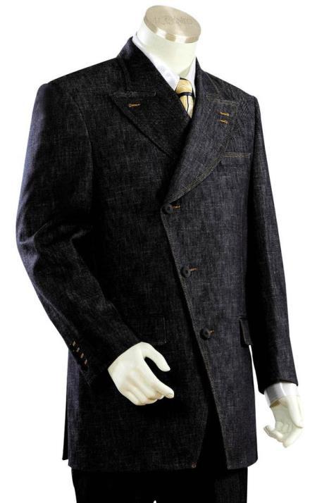 Mens Victorian Side Buttoned Denim Flap Pocket Black Zoot Suit