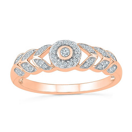 Promise My Love Womens 1/8 CT. T.W. Genuine White Diamond 10K Rose Gold Promise Ring, 7 , No Color Family