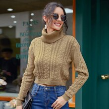 Cable Knit High Neck Crop Sweater