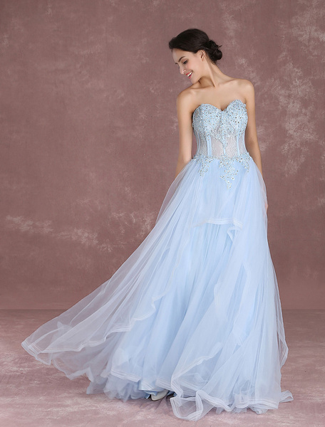 Milanoo Summer Wedding Dresses 2020 Tulle Pastel Blue Bridal Gown Strapless Sweetheart Lace Applique Beading Boned Bridal Dress With Train