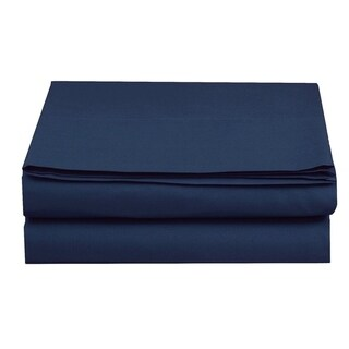 Elegant Comfort Super Soft and Wrinkle-Free Flat Sheet 100% HYPOALLERGENIC (Queen - Navy blue)