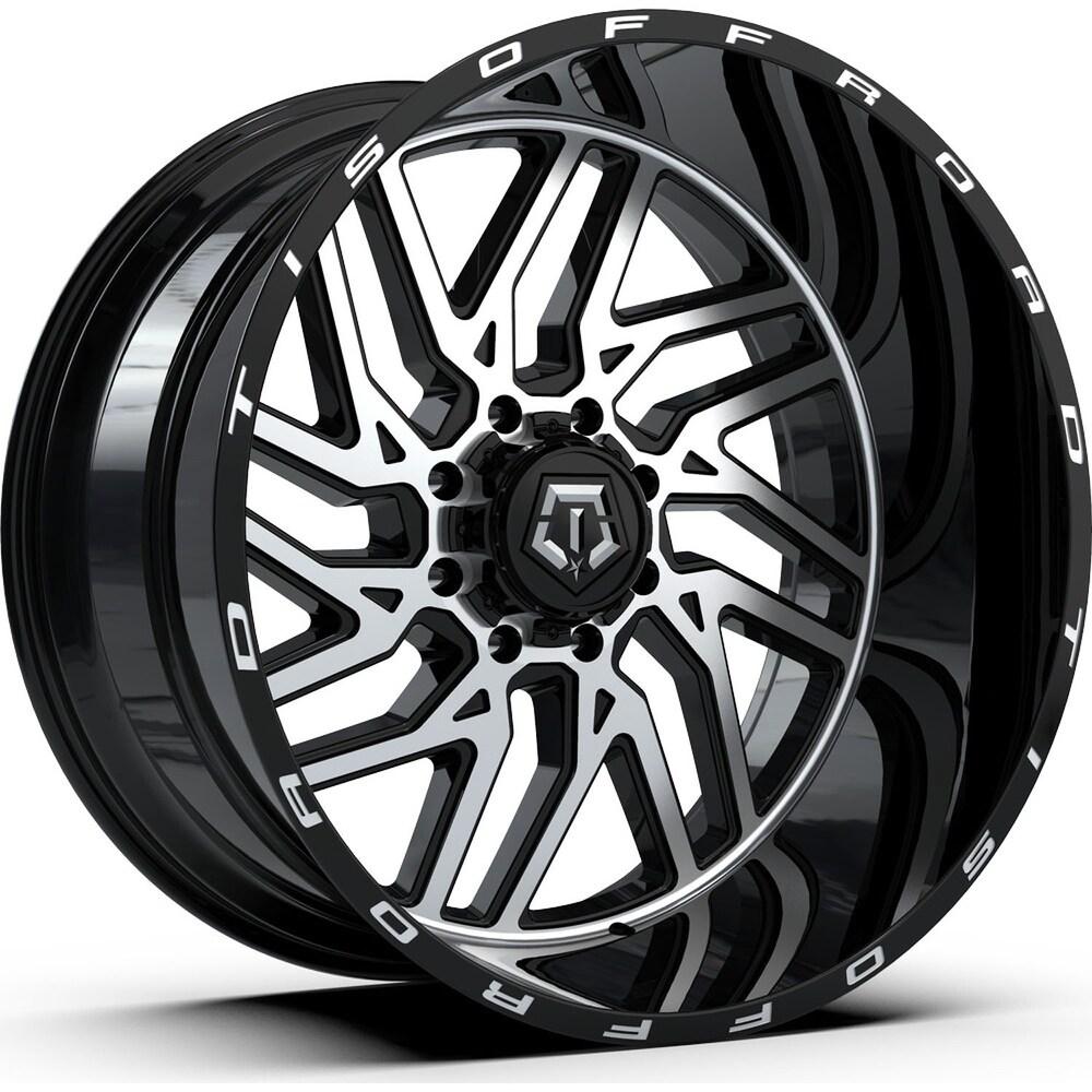 Tis 544mb 20x10 5x139.7/5x150 -25et 110.00mm machined gloss black wheel