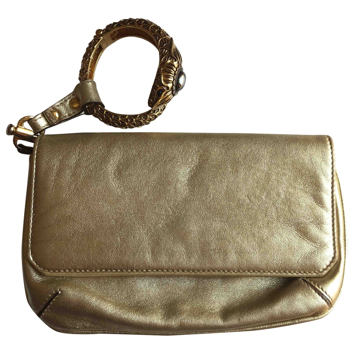 Roberto Cavalli \N Gold Leather Clutch bag for Women \N