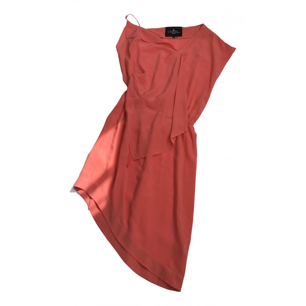Charlotte Eskildsen - Robe   pour femme en soie - orange