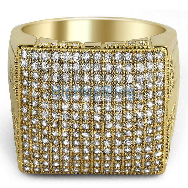 XL Mega Icey Gold CZ Micro Pave Bling Bling Ring